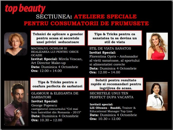 Atelierele Top Beauty Trade Show 4 Octombrie