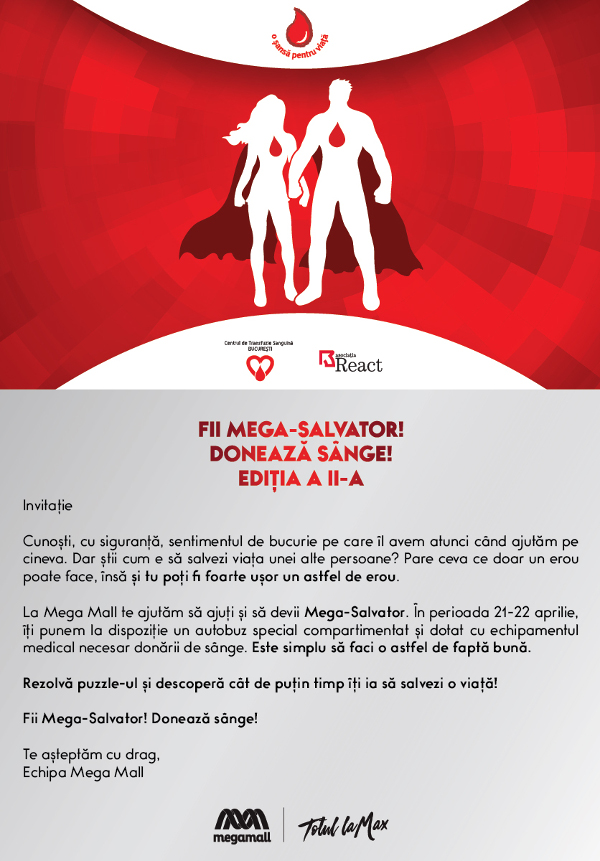 Invitatie_Doneaza sange si fii Mega-Salvator