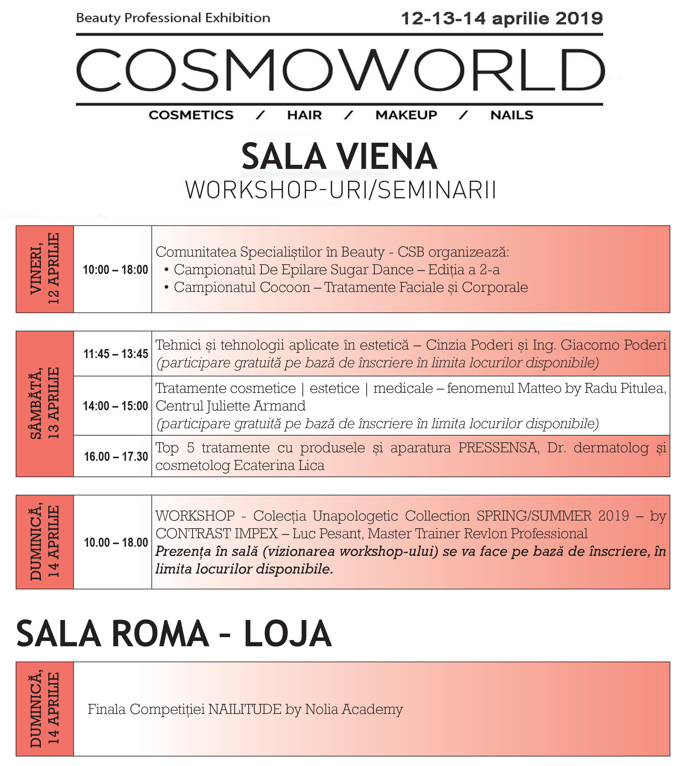 Program sala Viena cosmoworld 2019